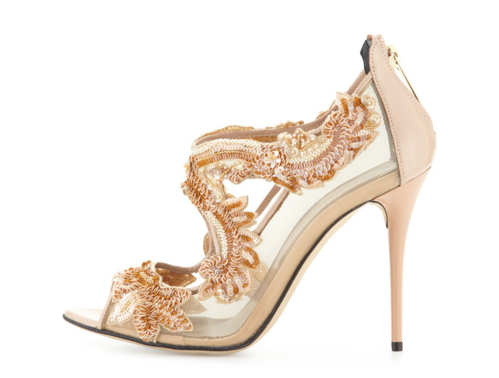 "7dc5ce62beb Oscar de la Renta Rose Gold Lace ""Ambria"" Beaded Sandals!"