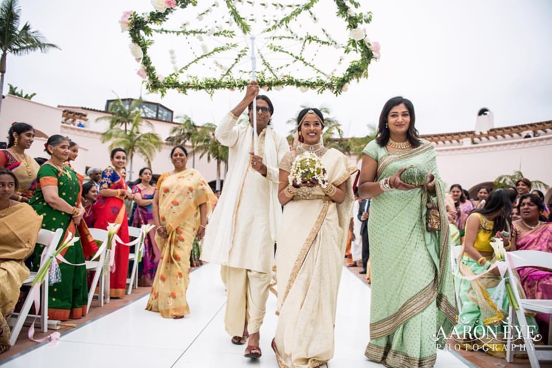south indian wedding, bridal entry, bride in saree