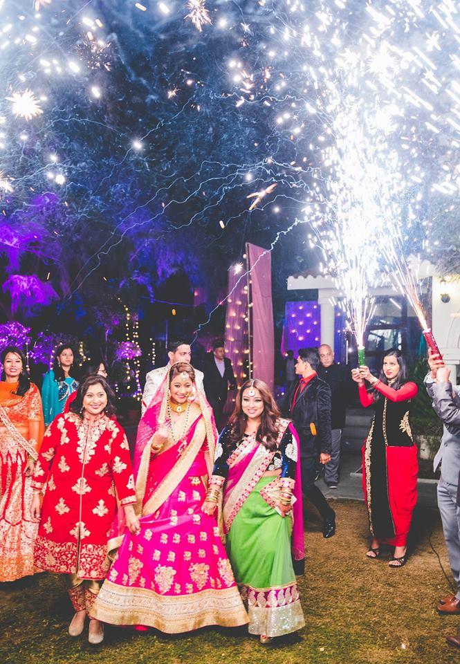 bride entry, bridal entry, bridal entry with sparklers, bridal lehenga