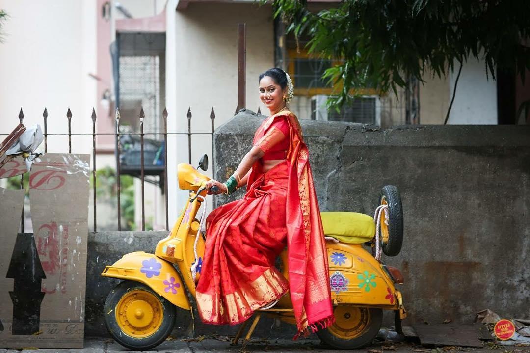 bride entry, bridal entry, bride entry on scooter, bride in saree