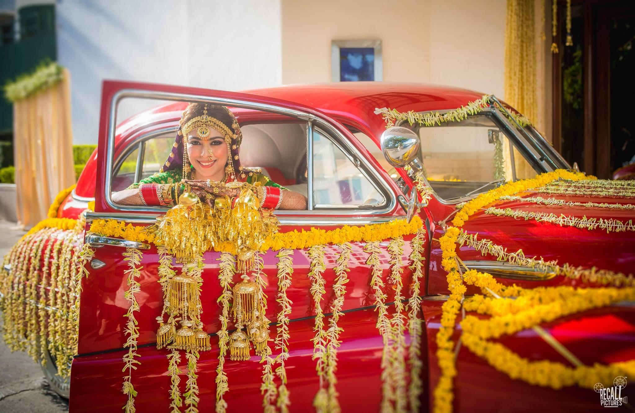 bridal entry ideas, kaleera, bride entry in car, bridal jewelery