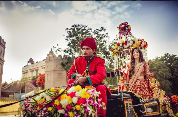 bridal entry, bride entry ideas, bridal hairstyle, red lehenga, bridal lehenga, bridal hairstyle