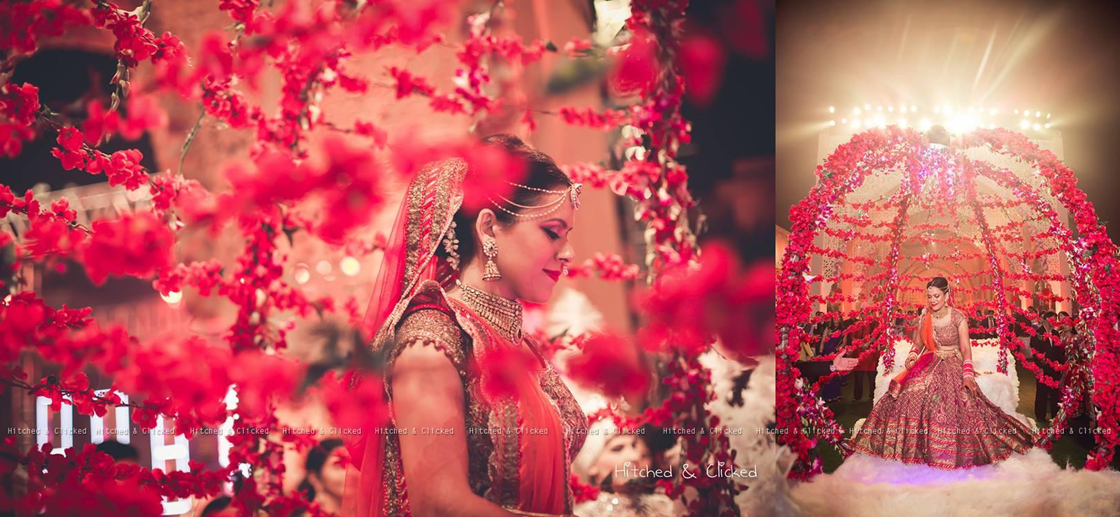 bride entry, bridal entry, bridal lehenga, red lehenga