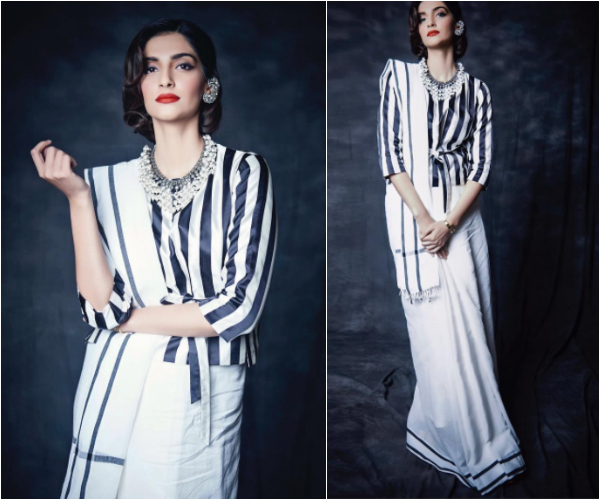 black and white outfit,Sonam Kapoor