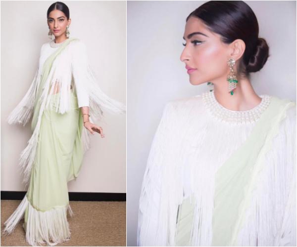 fringe crop top and saree