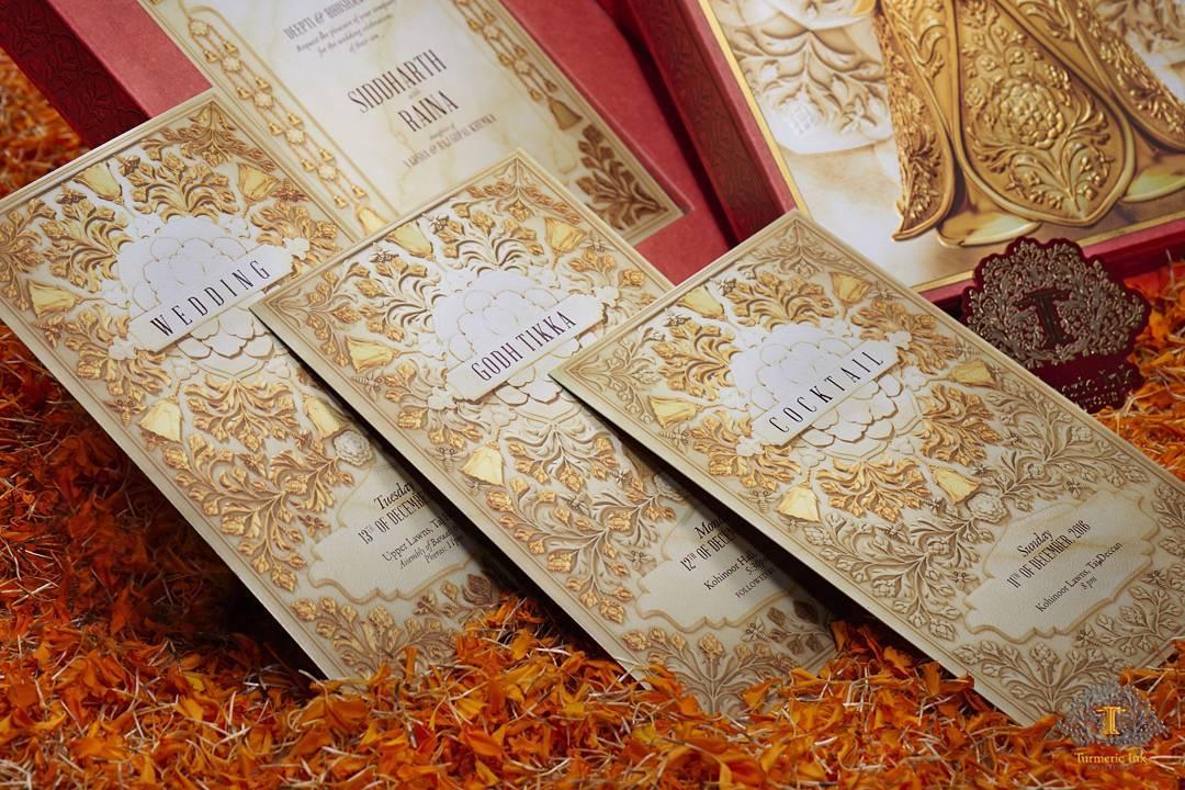 Wedding Invite, Wedding Invitation, Wedding Card, Ivory & Gold Invite