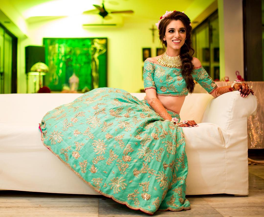 Blogger bride, Mehendi outfit, Payal Singhal Bridal Collection, Indian Blogger Bride