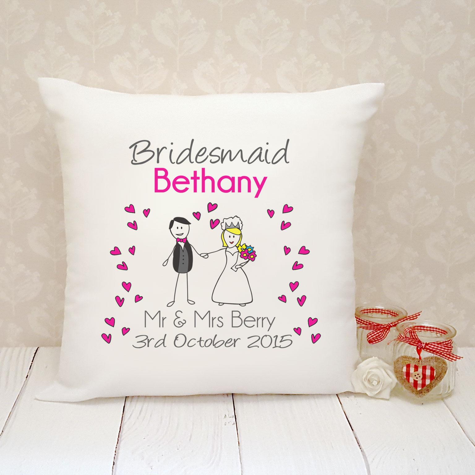 Bridesmaids Favors, Wedding Favors, Cushion, Personalised Cushion, Bridesmaid Cushion