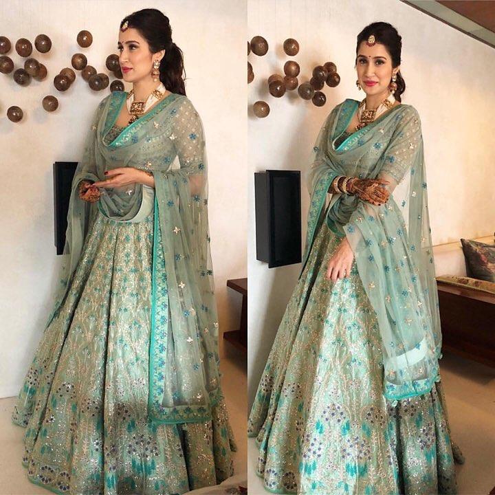 Celebrity bride, Mehendi outfit, Indian Bride, Bollywood Bride, Mehendi, Anita Dongre