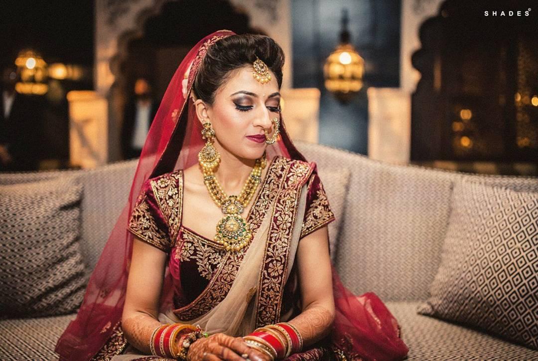 Bridal Makeup, Sakshi Malik Studio, Winged Eyeliner, Smokey Eyes, Maroon Lipstick
