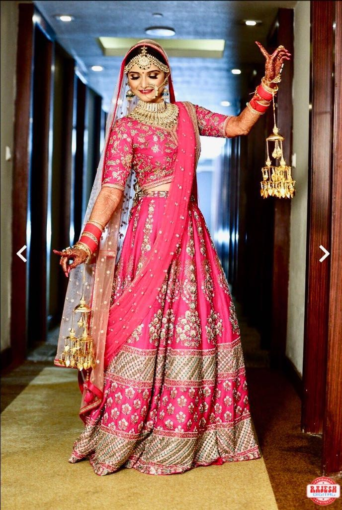 bridal lehenga, sunehree chandni chowk, pink lehenga, pink bridal lehenga