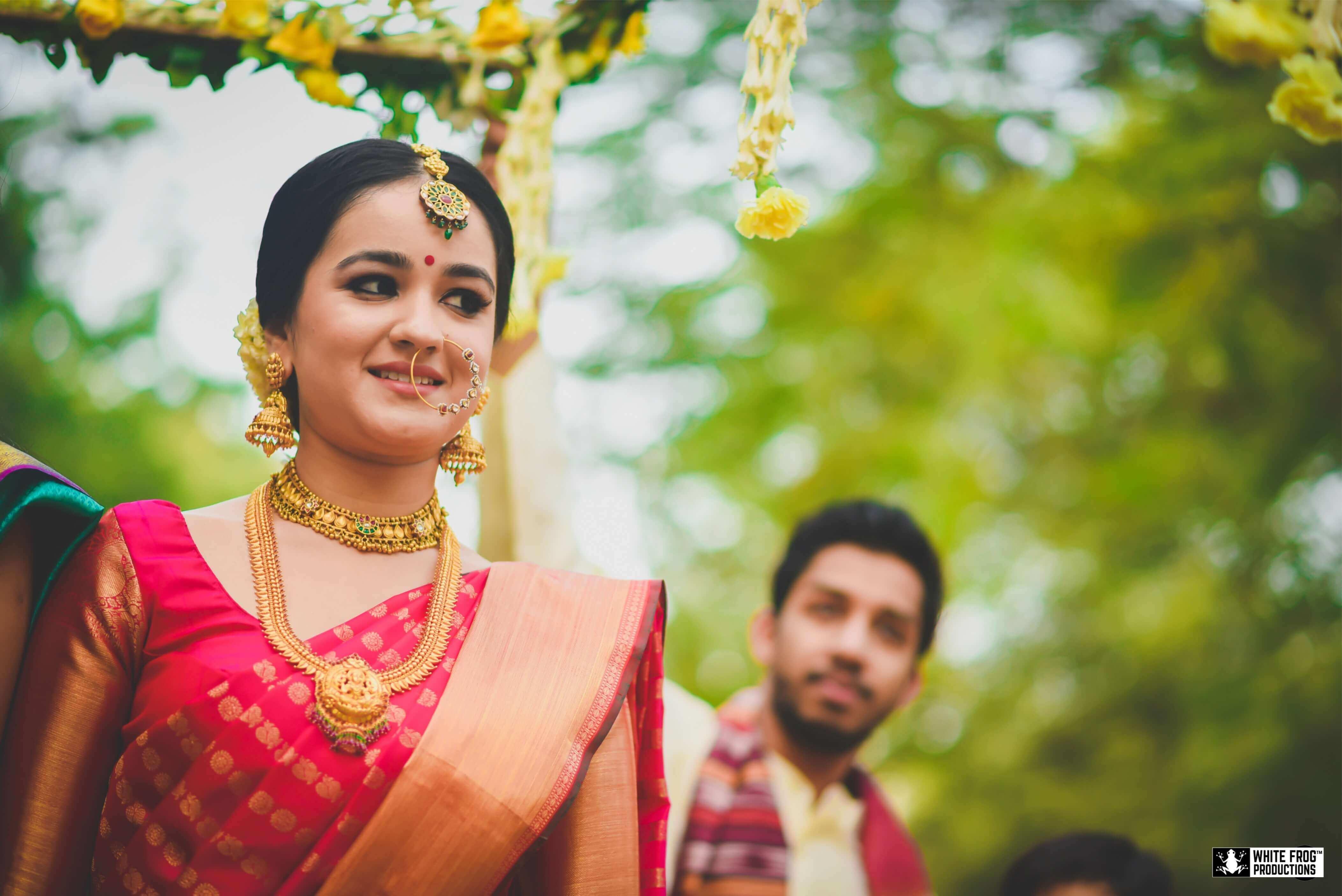 beautiful indian brides, indian bridal lehenga, south indian bride, kanjeevaram saree