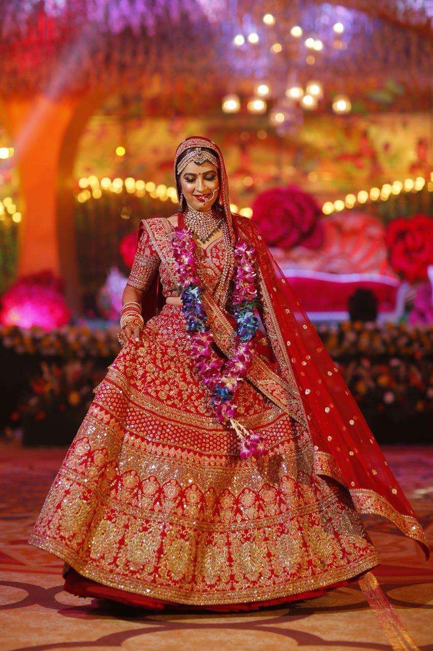 bridal lehenga, sunehree chandni chowk, red lehenga, indian bridal lehenga