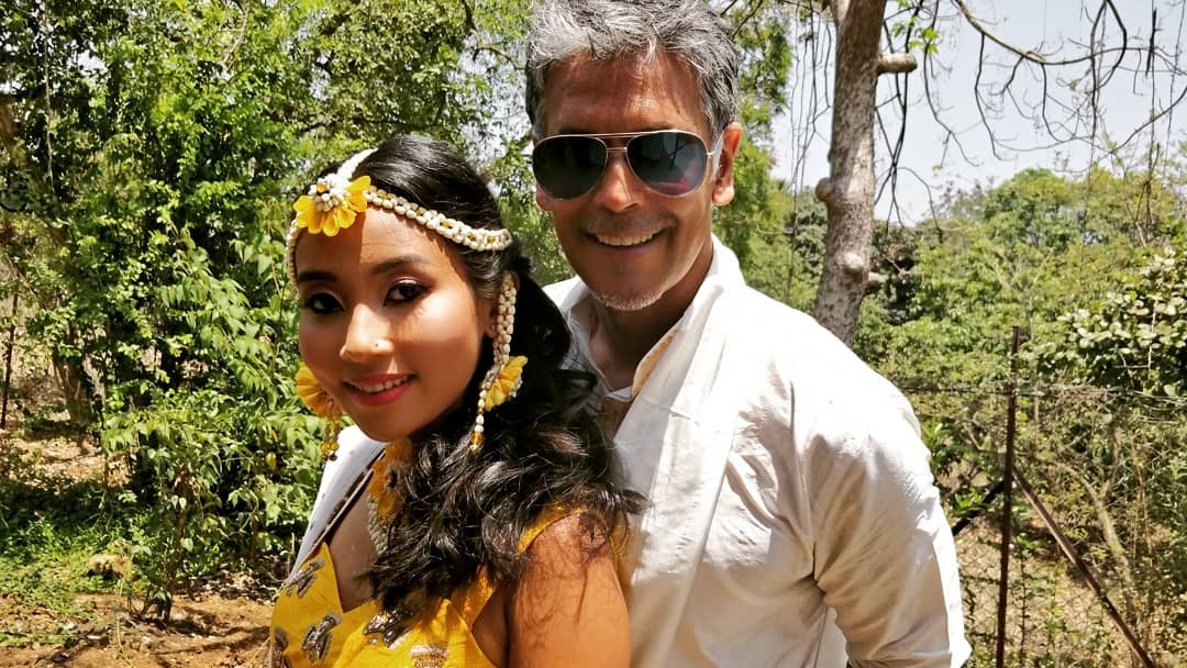 mehendi ceremony, ankita and milind, milind soman wedding