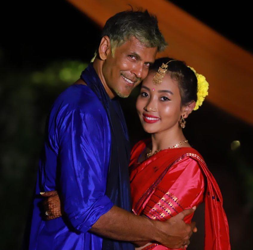 milind soman and ankita konwar, milind soman wedding photos