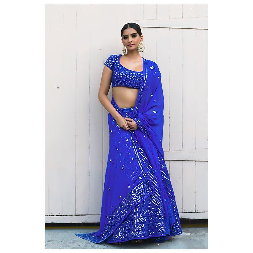 sangeet outfit, blue lehenga, sonam kapoor