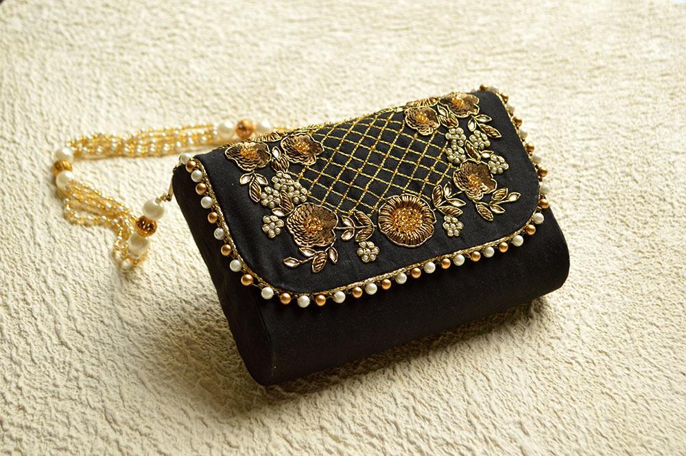 bridal clutch, jivaana, black clutch