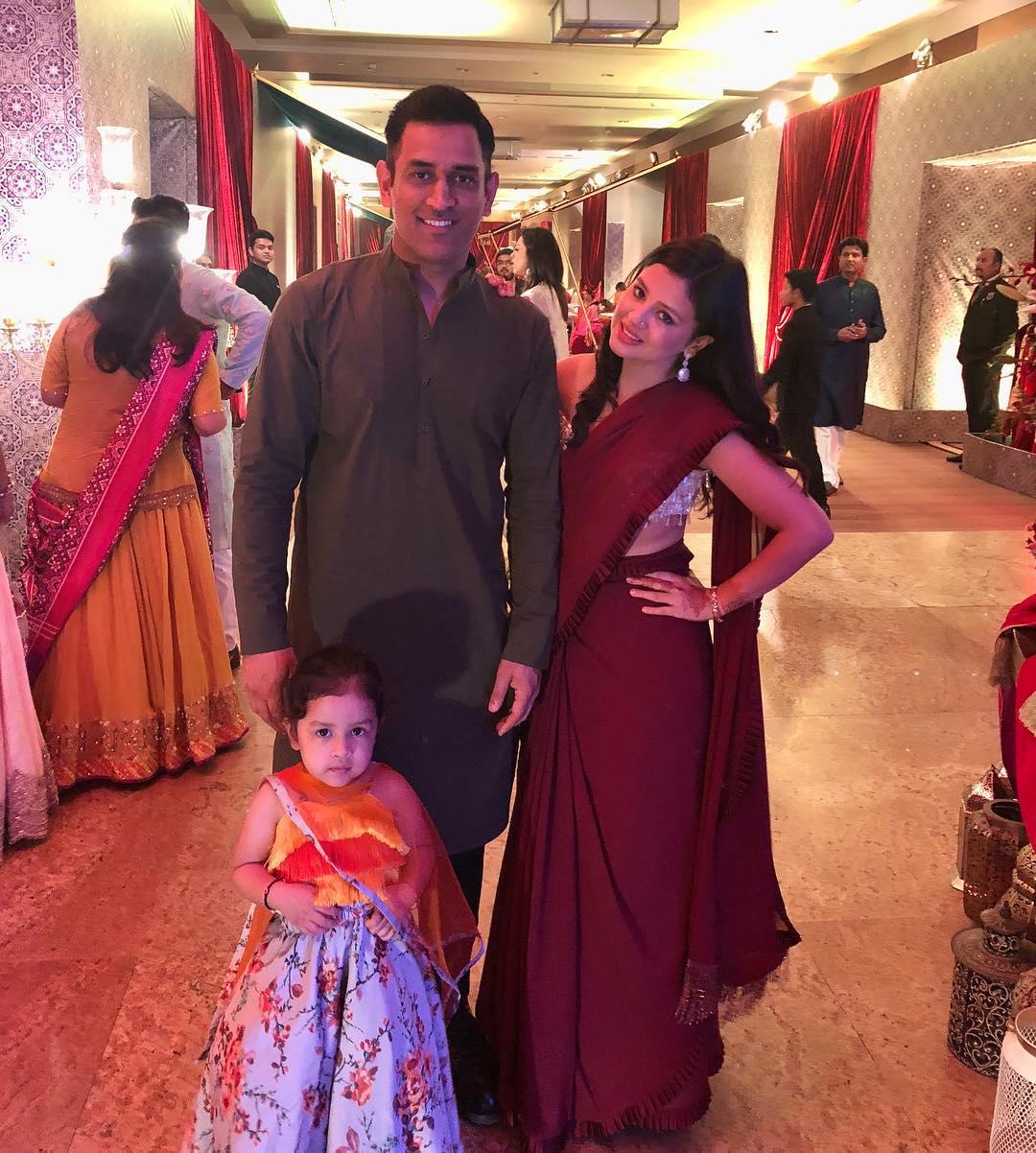 sakshi dhoni, mahendra singh dhoni, ziva dhoni, poorna patel wedding