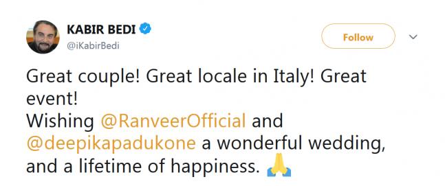 kabir bedi, twitter, Ranveer Singh Deepika Padukone wedding, Italy wedding, kabir bedi, Italy wedding
