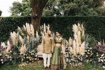 sabyasachi lehenga, bridal lehenga, foliage decor