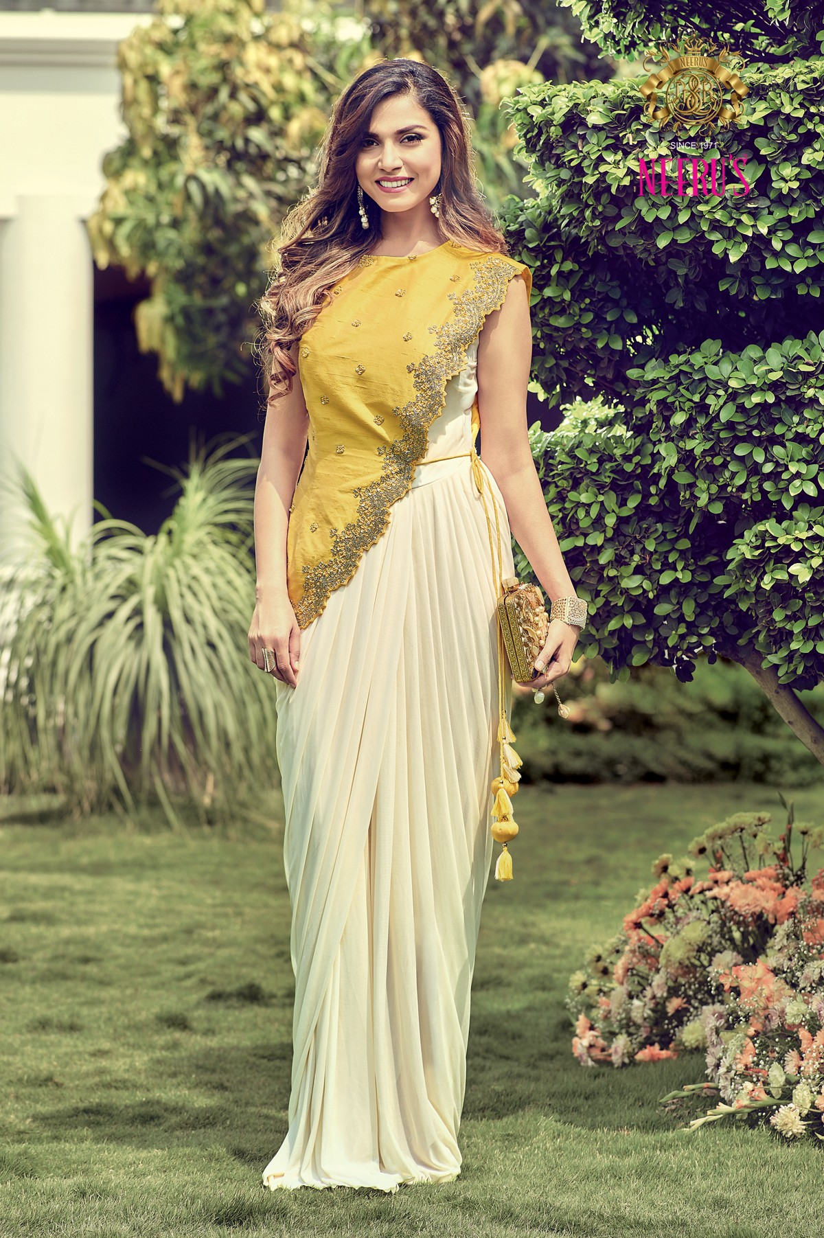 festive wear, festival outfit ideas, affordable festive wear, affordable festival outfit ideas, saree gown design ideas, yellow and ivory saree gown, neerus