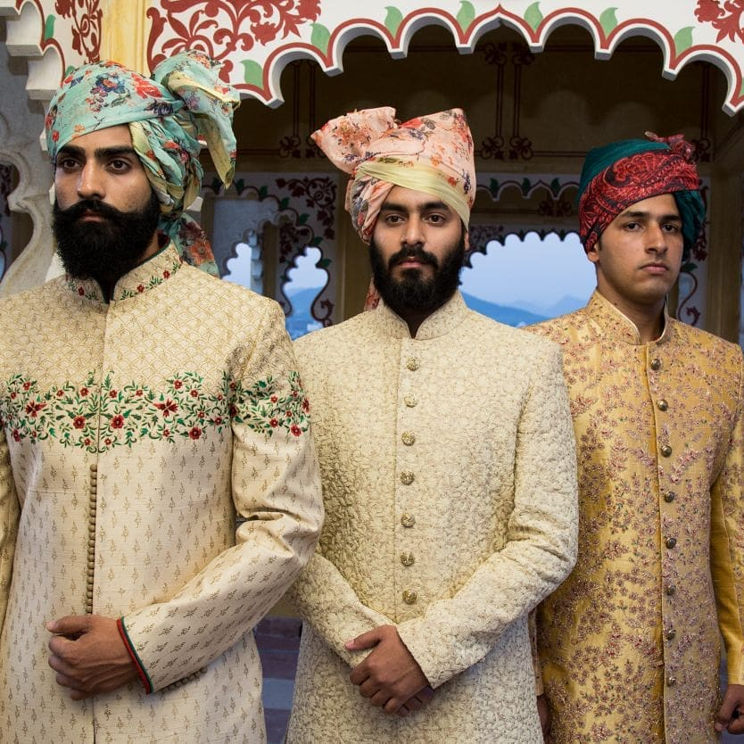 indian groom, groom accessories, safa, unique safa designs, colourful safa for grooms, groom trends, groom shopping, groom outfit ideas