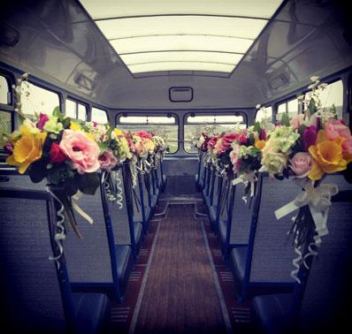wedding decor, bus decor, floral decor