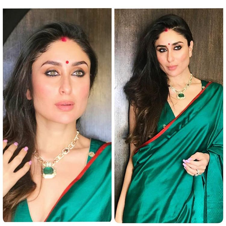 manish malhotra outfit, manish malhotra, manish malhotra creation, mehendi green saree, unique back blouse design, kriti sanon, wedding trousseau, wedding outfits ideas, Kareena Kapoor