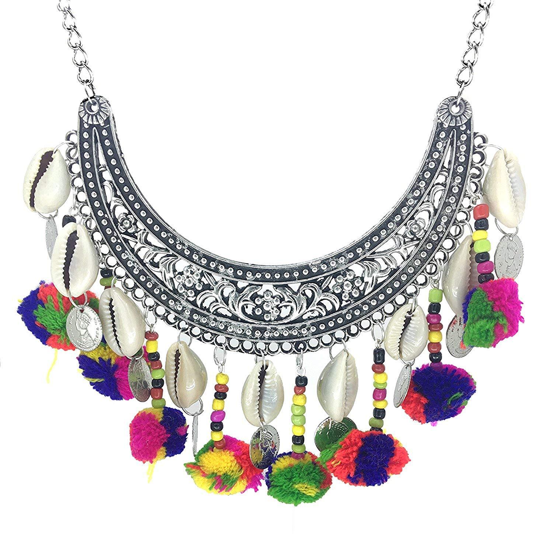 mehendi favors, unique mehendi favors, silver necklace, pom pom necklace, colourful pom pom necklace