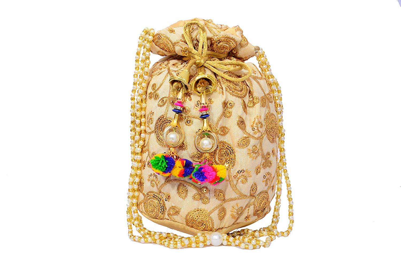 mehendi favors, unique mehendi favors, ethnic potli bag, golden potli bag