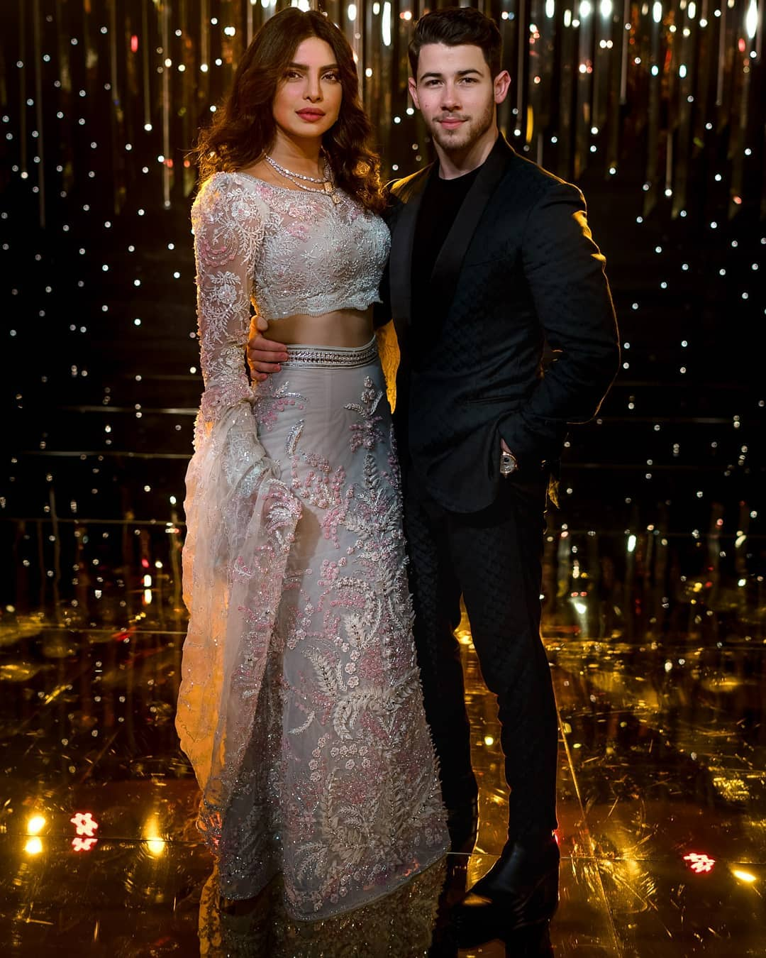 Priyanka Chopra, Nick Jonas, Priyanka Chopra Wedding, Nick Jonas Wedding, Nickyanka wedding, Nickyanka Bollywood reception, wedding reception, Priyanka Chopra reception, bridal wear, bridal outfit, reception outfit ideas, groom wear, wedding photography, celebrity wedding, Bollywood wedding, Hollywood wedding, couple portrait, open hairstyle, bridal hairstyle, bridal lehenga, Abu Jani Sandeep Khosla, Indian Groom, bridal inspiration, 2018 bollywood bride, ideas for reception