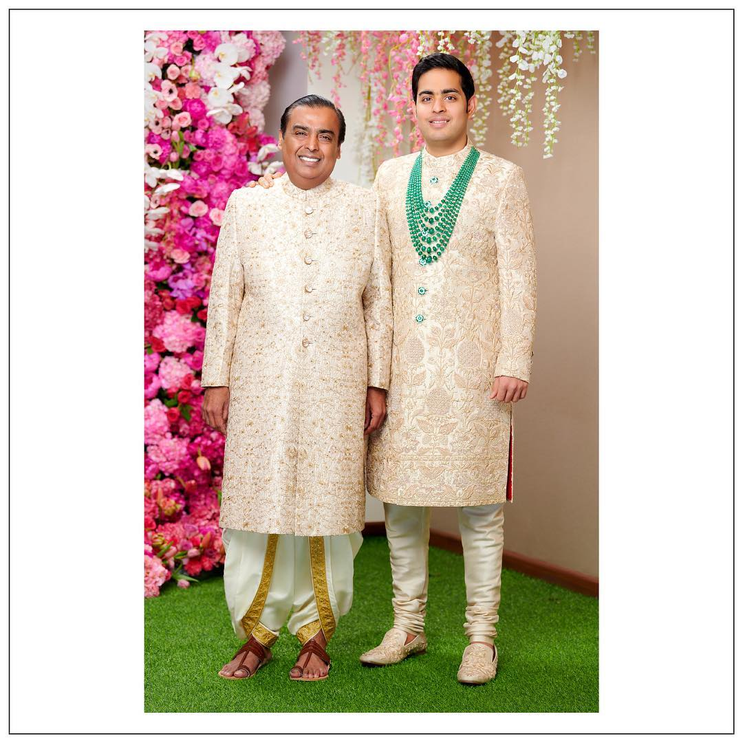 Akash Ambani and Mukesh Ambani in Sabyasachi