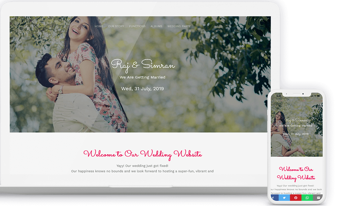 create your wedding website for free