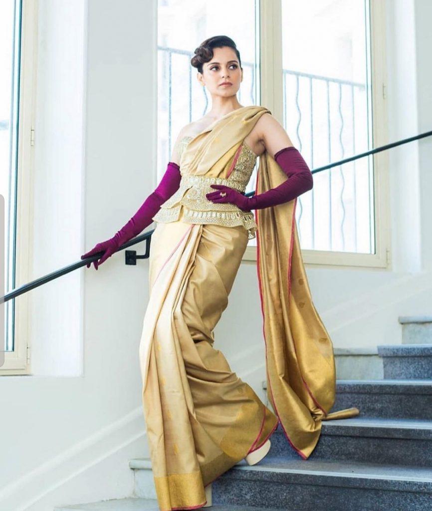 latest saree trends for weddings from Kangana Ranaut