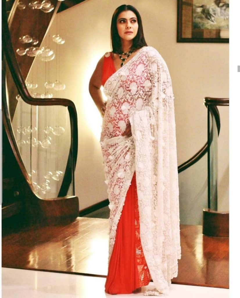 Kajol in Red and White Saree