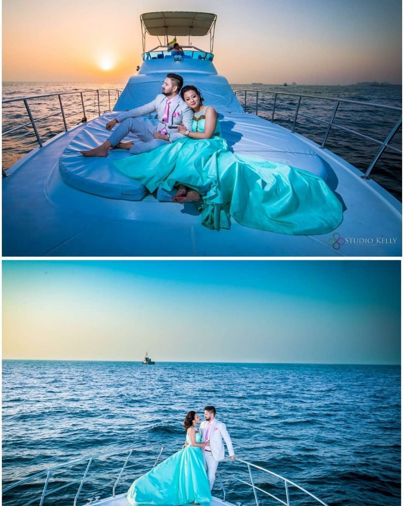 pre wedding shoot on a Yacht