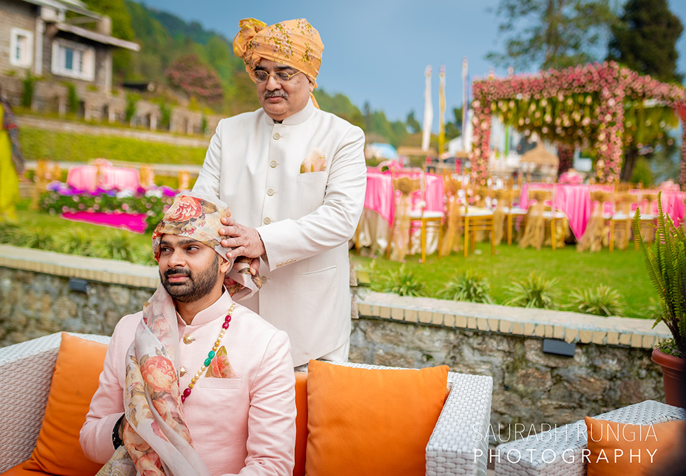 groom and father portrait