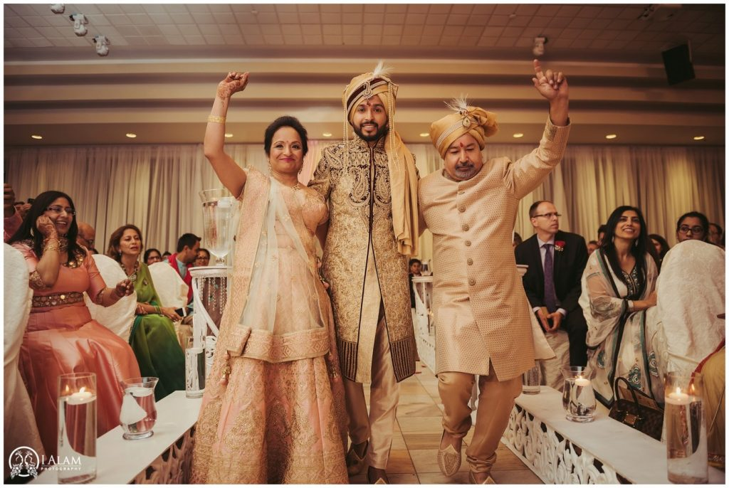 Groom entry with parents