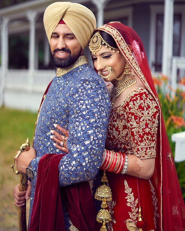 sikh couple porttrait,Heavy embroidered outfits