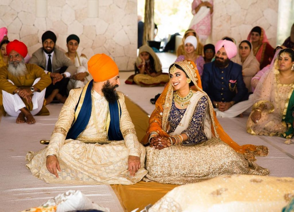 sikh Weddings,Colour coordinated outfits