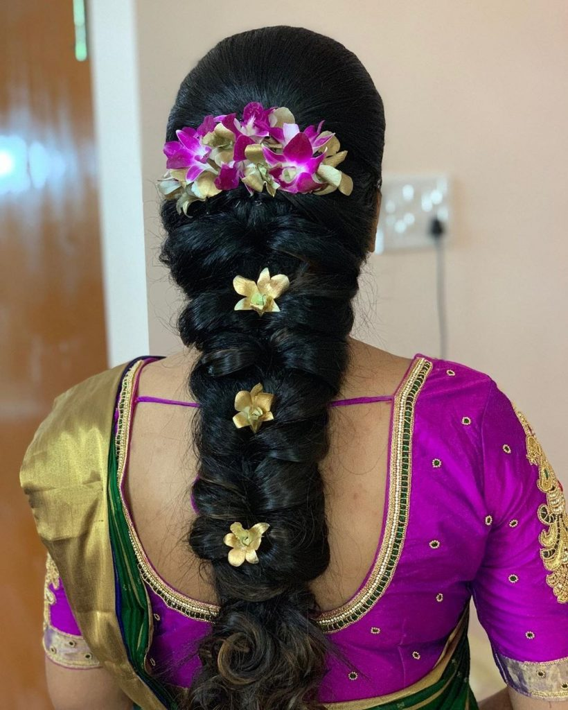 South Indian floral hairstyle