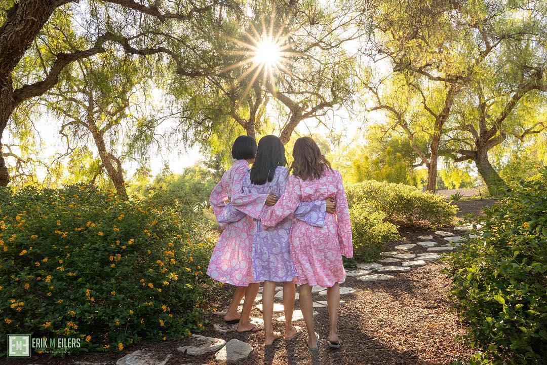 floral bridesmaid and bridal robes