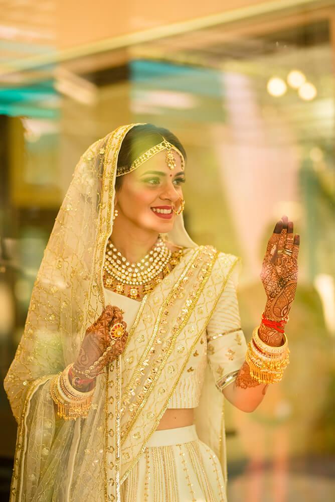 Ivory bridal lehenga