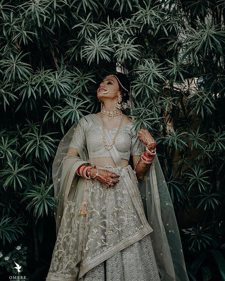 grey bridal lehenga