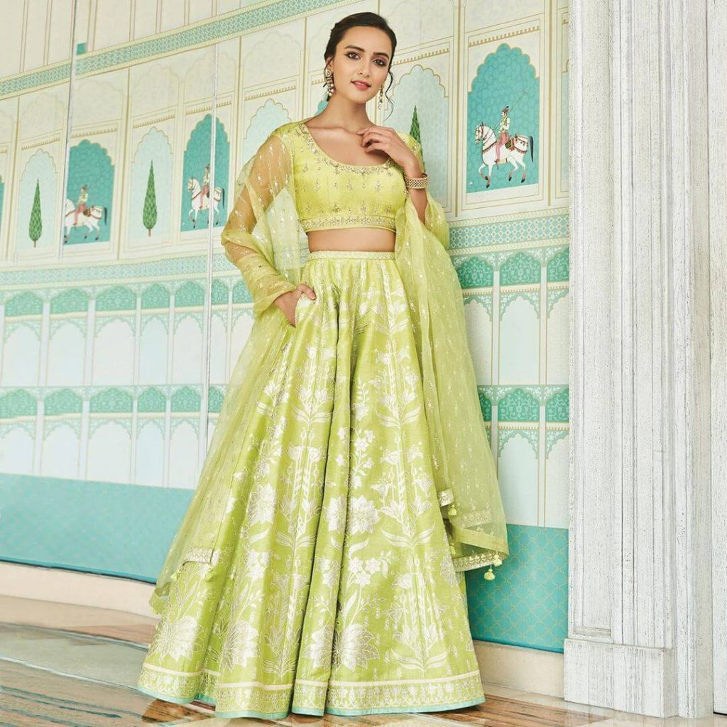 pista green color lehenga