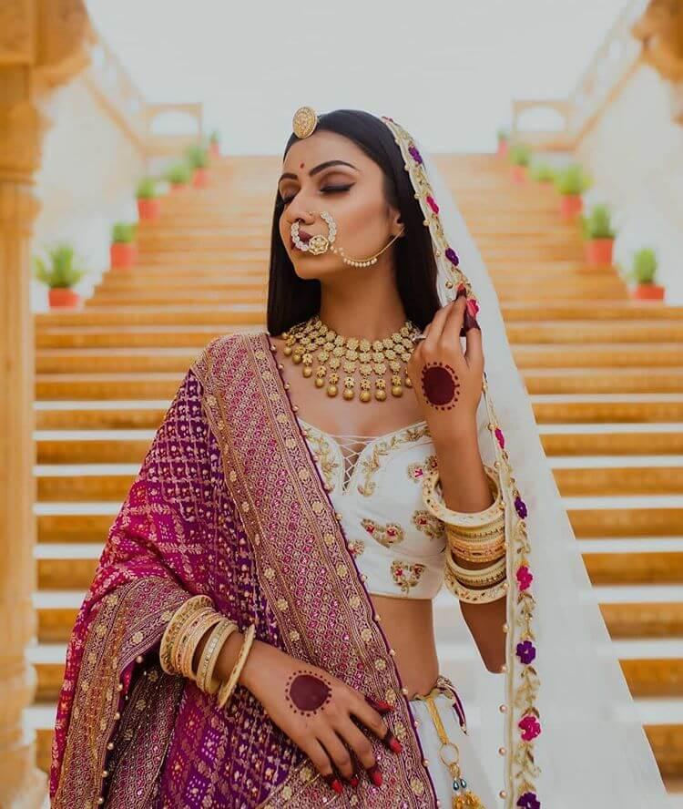 Kundan bridal nath with pearls