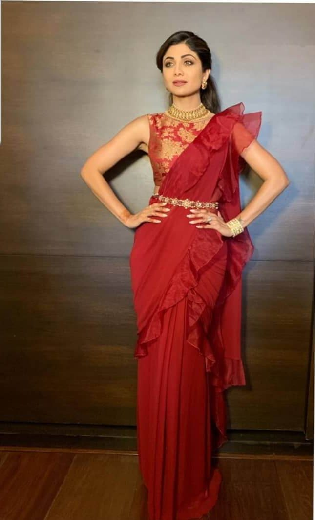 Red Ruffled Saree