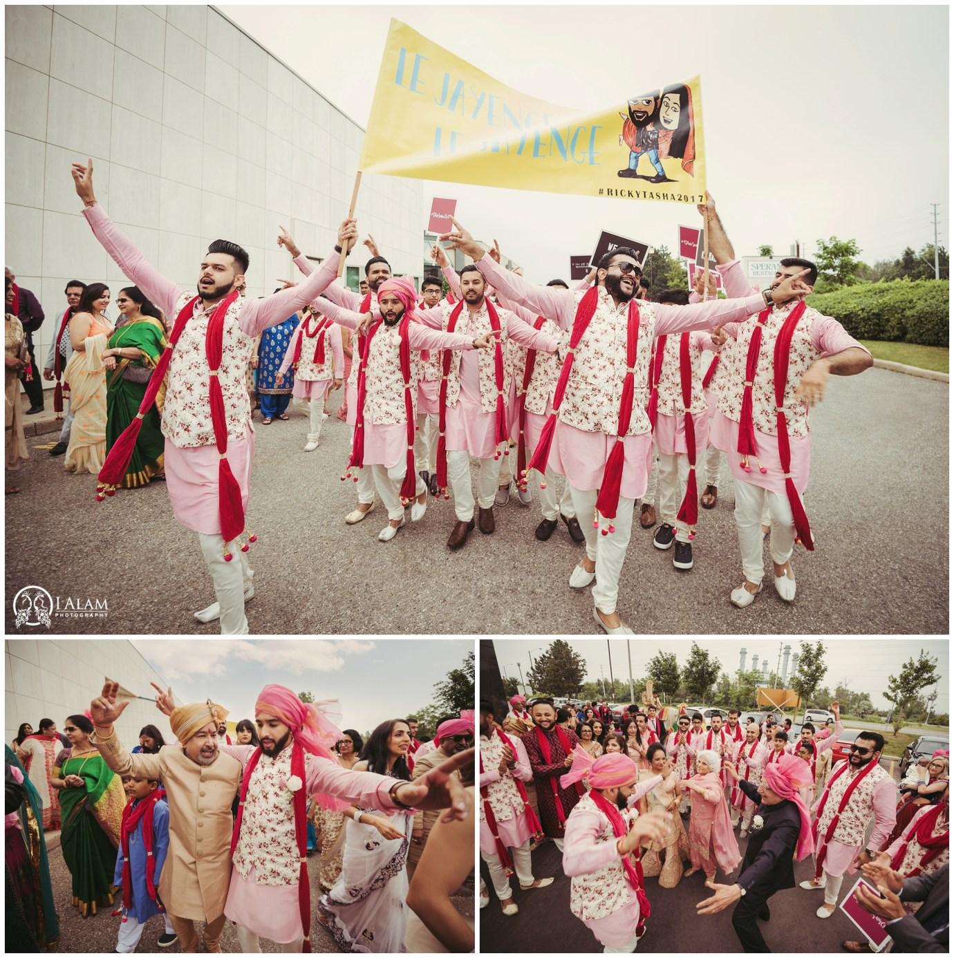 baraat entry ideas, coordinated groomsmen