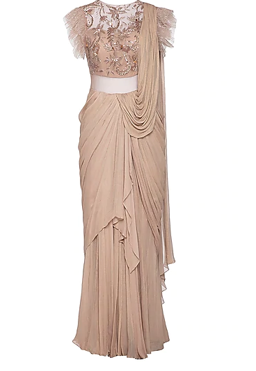 draped saree gown