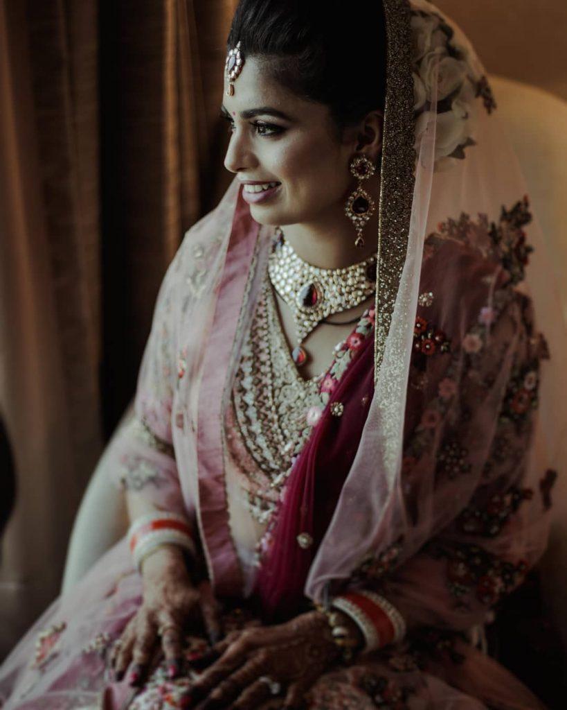 bridal jewellery with pink lehenga
